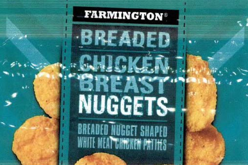 Farmington Breaded Chicken Breast Nuggets Packaging. Takes you to images of recalled food products.