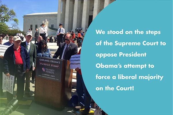 We stood on the steps of the Supreme Court to oppose President Obama's attempt to force a liberal majority on the Court!