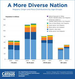 A More Diverse Nation: Hispanic Origin and Race Distributions by Age Groups graph