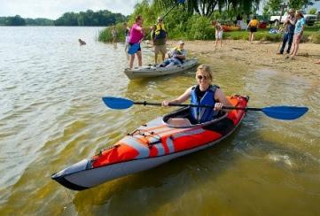 A kayaker enjoying time on Michigan waters.