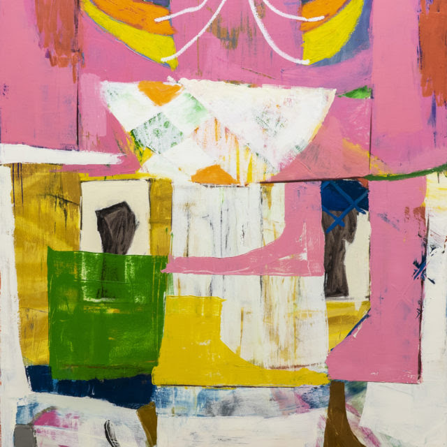 Abstract painting with lots of pinks.