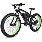 Goplus 26'' Electric Bike E-Bike Mountain Beach Snow Bicycle Fat Tire Bike Speed Up to 12.5MPH with 3 Riding Modes, Removable 36V Lithium Battery