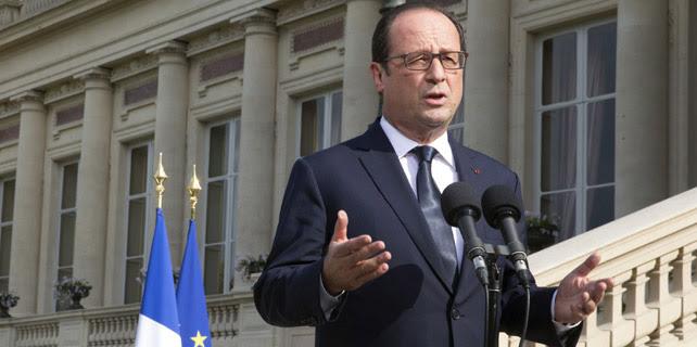 Discurso del presidente francés frente al Ministerio de Exteriores de París, el 26 de julio  de 2014. REUTERS/Philippe Wojazer