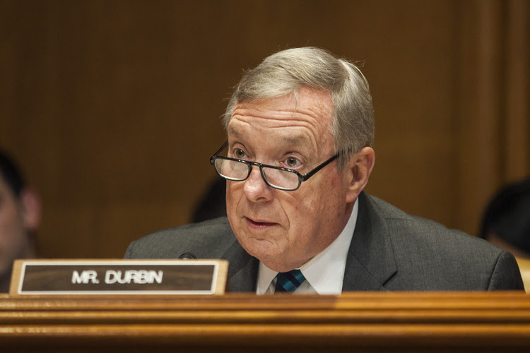 Senate Minority Whip Dick Durbin (D-Ill.) speaks during another hearing yesterday. (Zach Gibson/Getty Images)</p>
