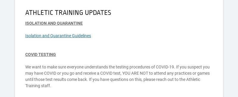 ATHLETIC TRAINING UPDATES ISOLATION AND QUARANTINE Isolation and Quarantine Guidelines...