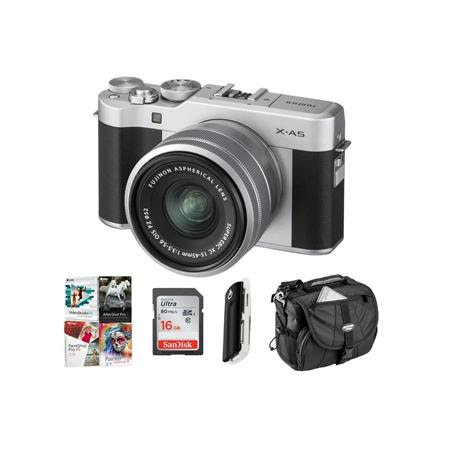 X-A5 24.2MP Mirrorless Digital Camera with XC 15-45mm f/3.5-5.6 OIS PZ Lens, Silver - Budl