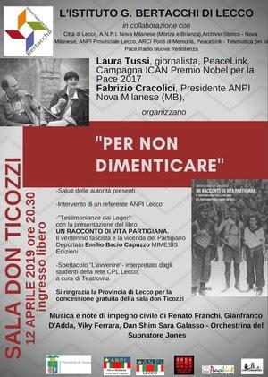 Evento serale con il Liceo Bertacchi di Lecco