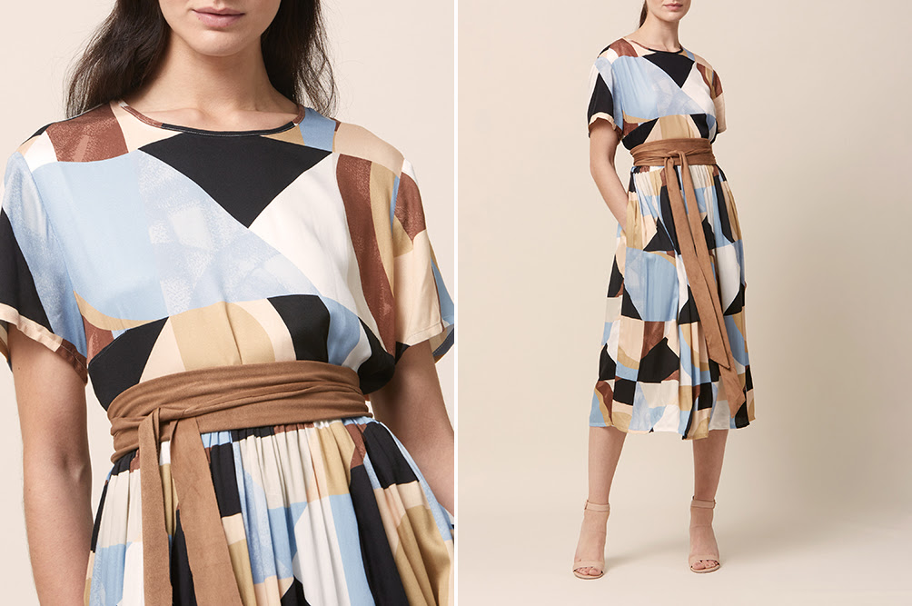 Louise geometric print dress and Obi belt