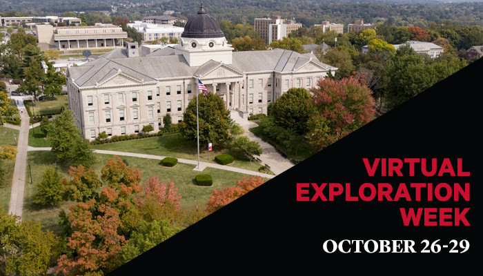 Virtual Exploration Week. October 26-29. Aerial image of Southeast's Academic Hall.