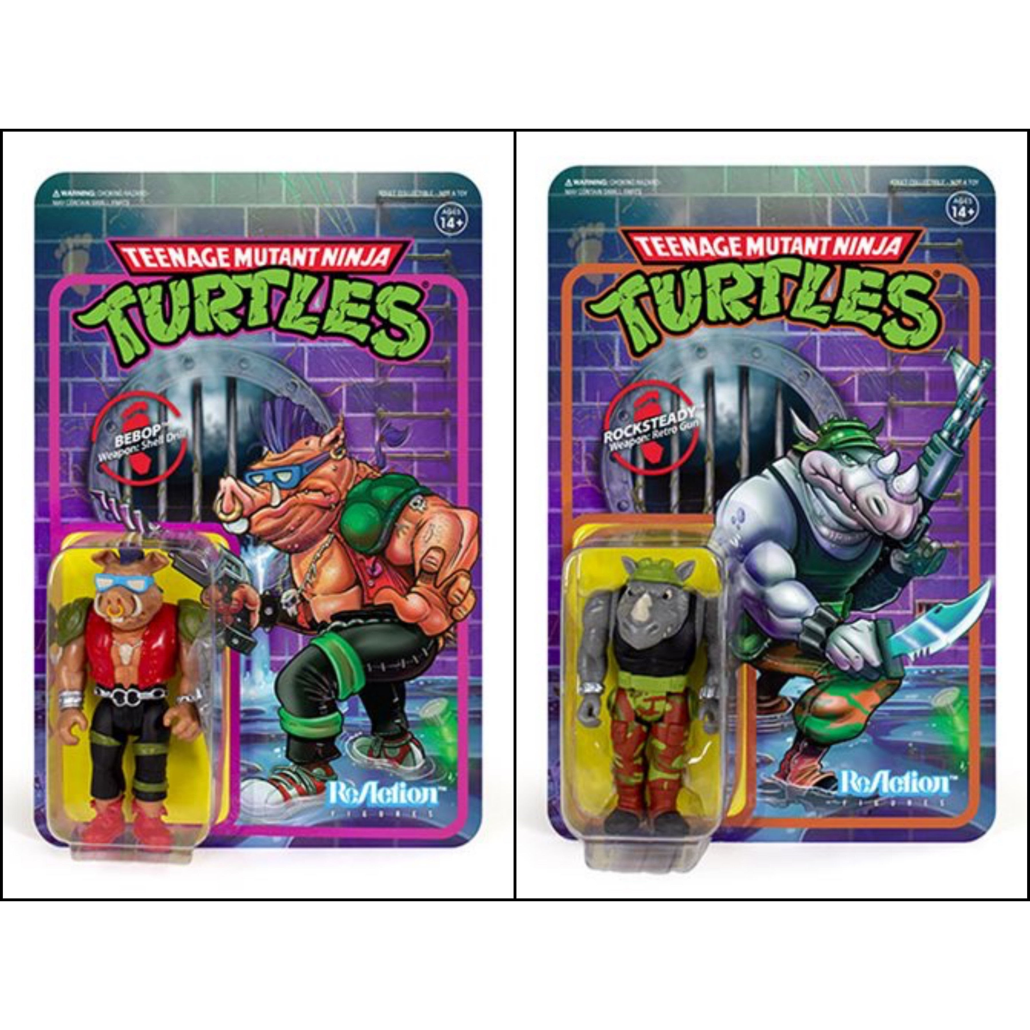 """Image of TMNT Reaction 3.75"""" Rocksteady and Bebop Action Figure Set of 2"""