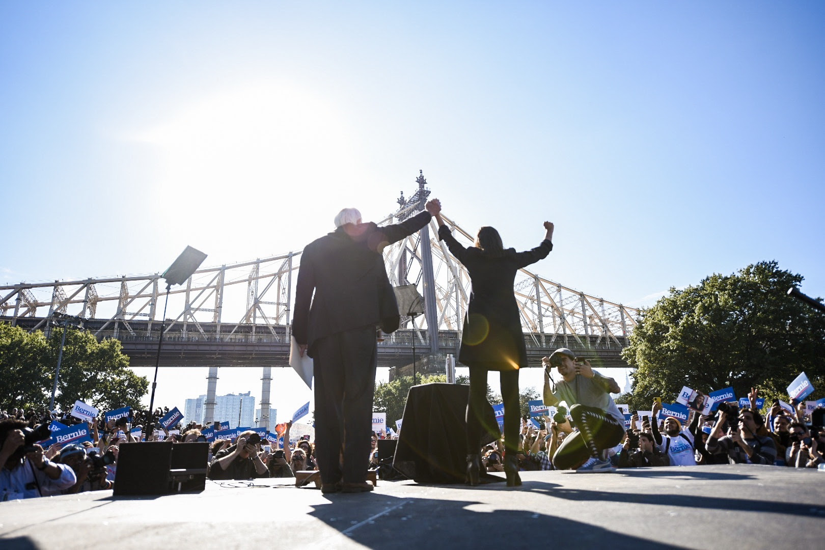 Bernie and Rep. Ocasio-Cortez at our Bernie's Back rally in NYC