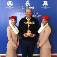 Emirates Cabin Crew and Thomas Bjørn, the European Ryder Cup Team Captain pose with The Ryder Cup
