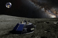 An artist's conception of Moon Express's MX-1 lander on the moon.