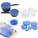 Jogo 6 Tampas De Panela Silicone Reutilizável Elástica Transparente