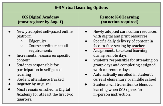 K-8 Virtual Learning Options