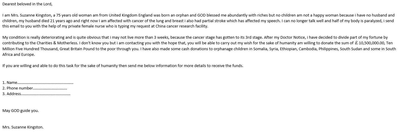 Example of emails circulating claiming to be from people looking to share, move or donate large cash sums