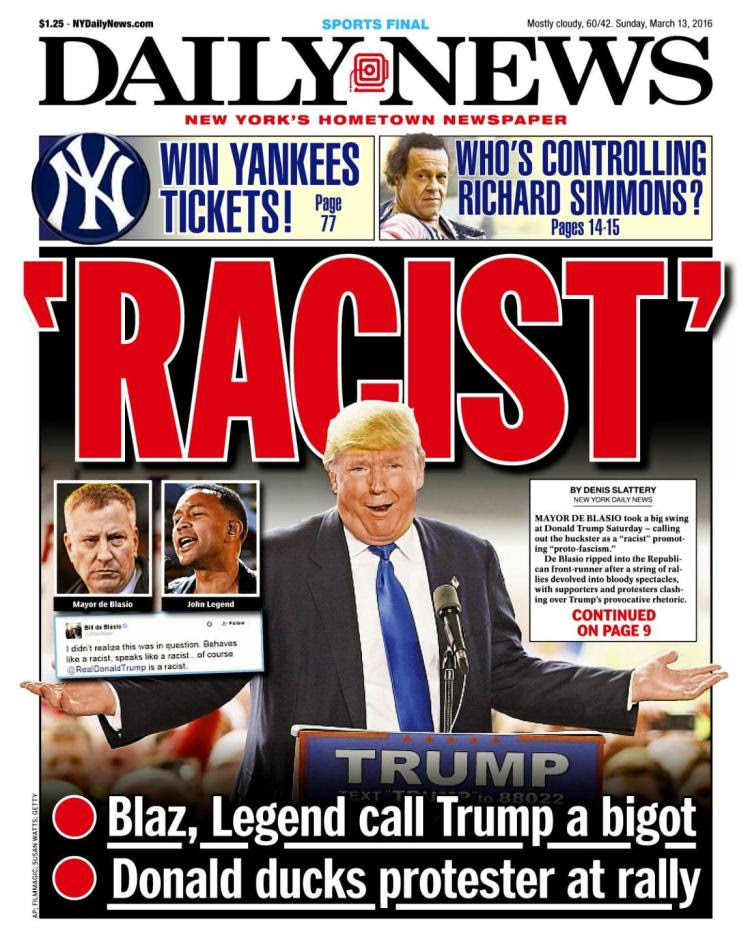Newspaper cover with Trump