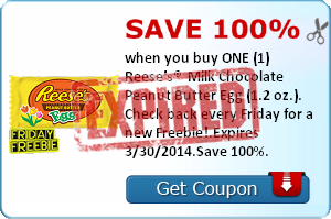 Save 100% when you buy ONE (1) Reese's®  Milk Chocolate Peanut Butter Egg (1.2 oz.). Check back every Friday for a new Freebie!.Expires 3/30/2014.Save 100%.