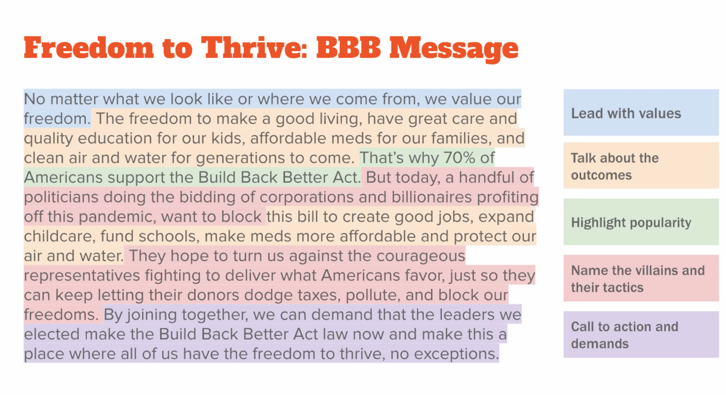 Freedom to Thrive is an example of how ASO Communications recommends framing messages.