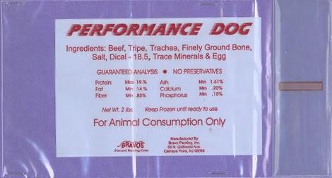 Performance Dog Raw Frozen Pet Food Recall