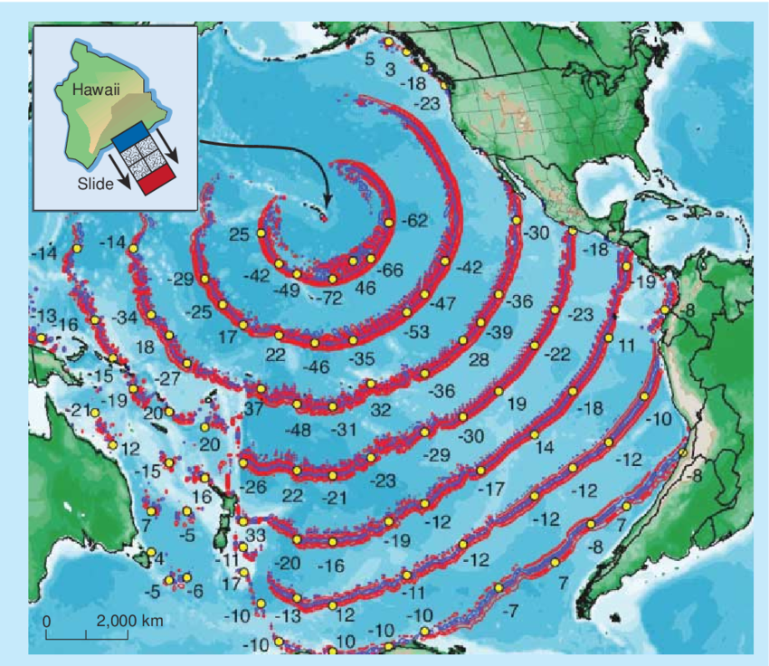 """Hawaii FINALLY Admits: """"Sea Cliff Collapse"""" Danger ---- TSUNAMI Danger for San Diego, Los Angeles,  Computer-simulation-7-of-the-tsunami-waves-that-might-be-set-off-in-a-collapse-of"""