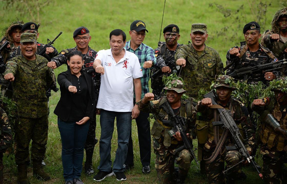 Duterte at a military training camp on Thursday.