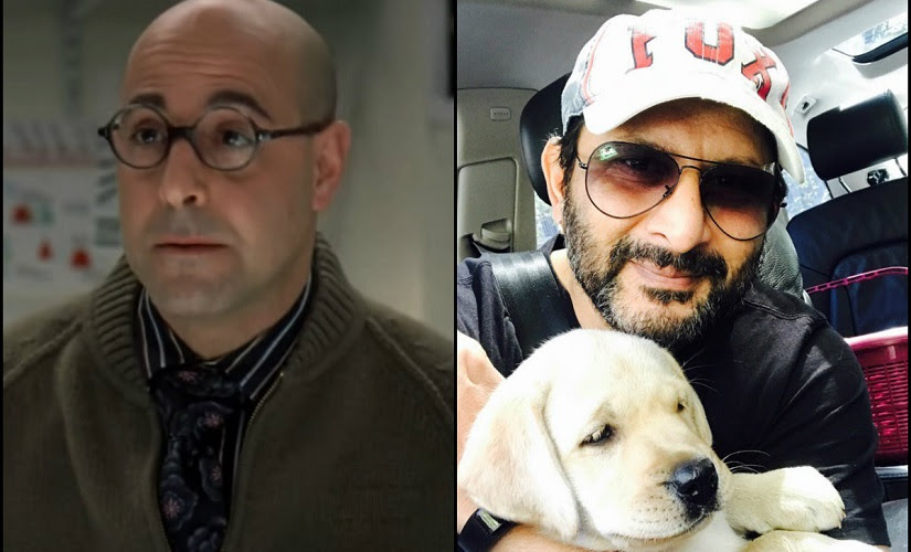 Stanley Tucci and Arshad Warsi. Screengrab from Youtube and image from Twitter
