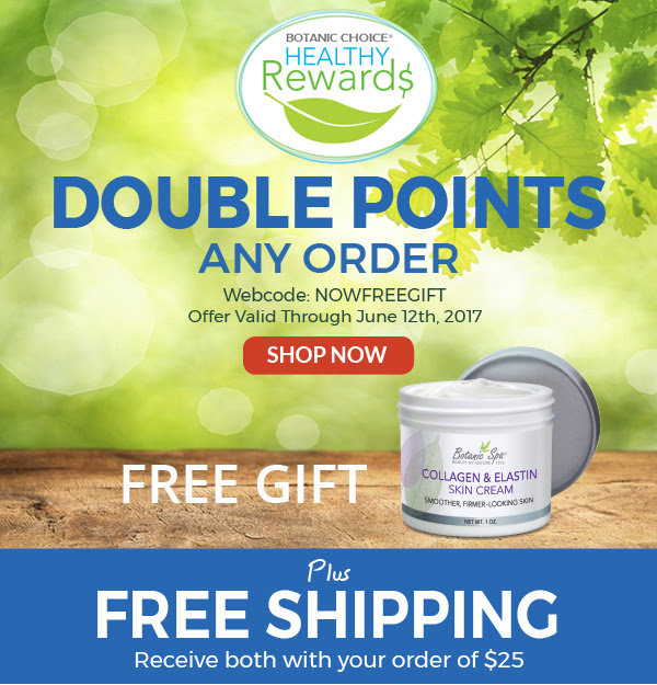 Double Points on any order. Free Collagen & Elastin Skin Cream plus free shipping on orders $25 or more.