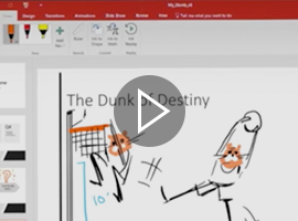 Screenshot of a video showing off the capabilities of using touch or Pen with PowerPoint.
