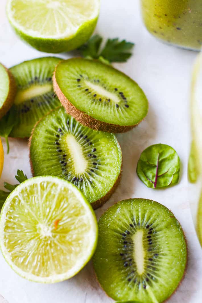 Give your digestion a little TLC with this Kiwi Super Green Smoothie! Super ingredients are all healthy and nourishing for the body and digestion. A green smoothie that does a body good. Simply delicious and refreshing! Paleo and vegan friendly!