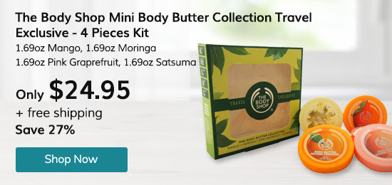 The Body Shop Mini Body Butter Collection Travel Exclusive - 4 Pc Kit 1.69oz Mango, 1.69oz Moringa, 1.69oz Pink Graprefruit, 1.69oz Satsuma