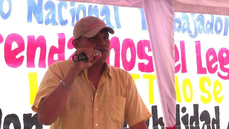 Richard Corea durante su intervención en el Encuentro de trabajadores de Marea Socialista en Valencia Edo. Carabobo