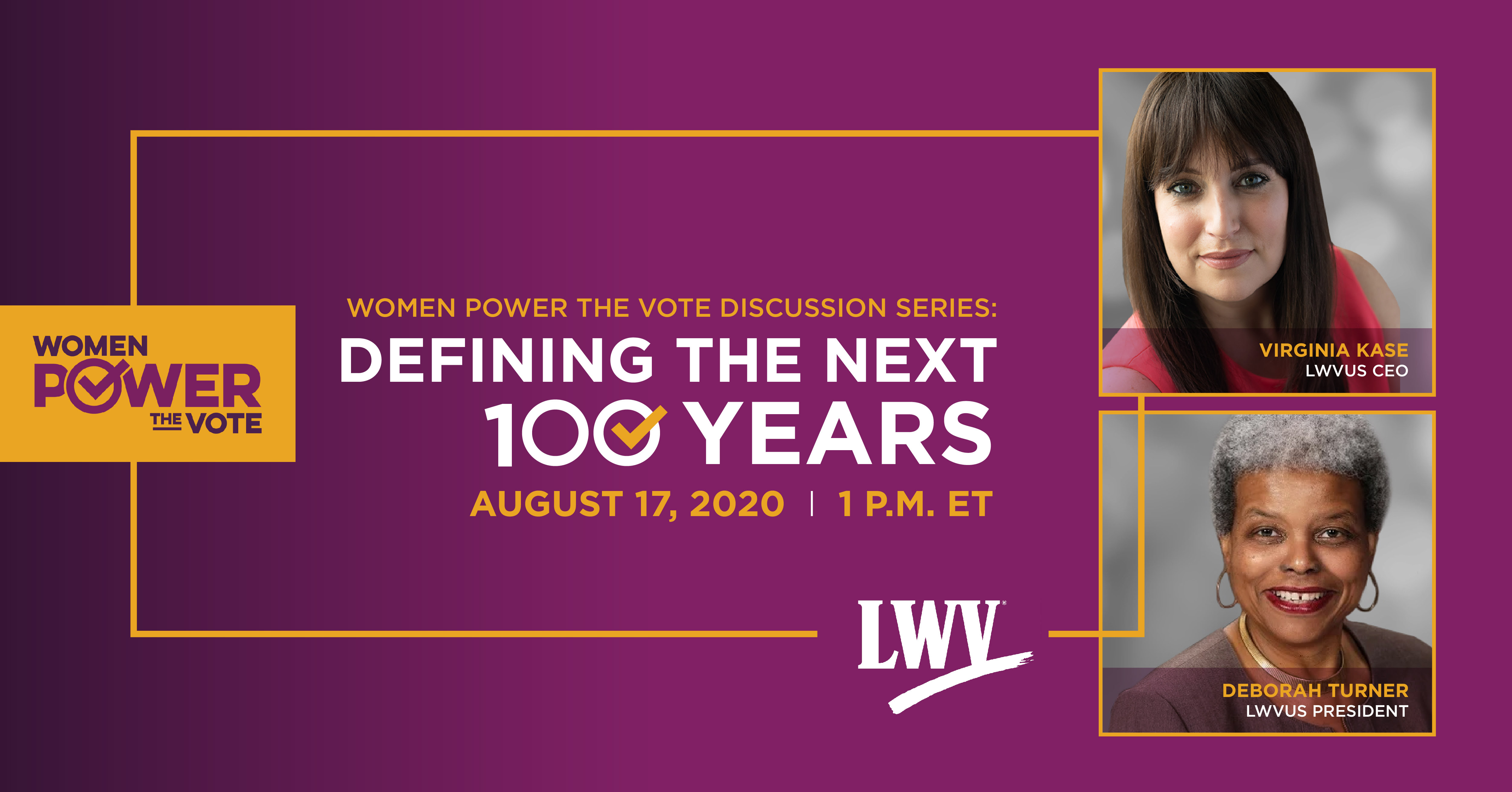 Graphic announcing the event with the Women Power the Vote logo
