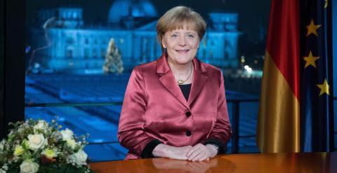 La canciller alemana Angela Merkel durante la grabación de su discurso de Año Nuevo