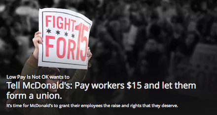 Tell McDonald's: Pay workers $15 and let them form a union.