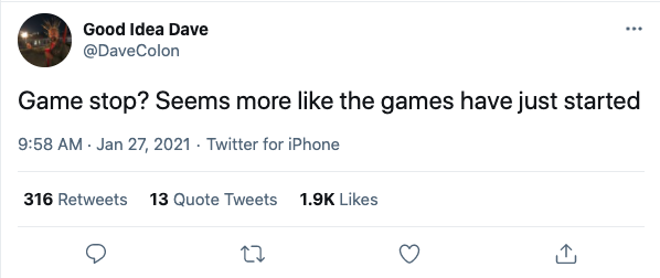 Tweet by DaveColon about Game stop
