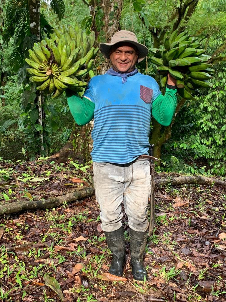 A man stands with two bundles of bananas in his hands