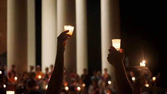 A candlelight vigil at the University of Virginia in Charlottesville, VA.