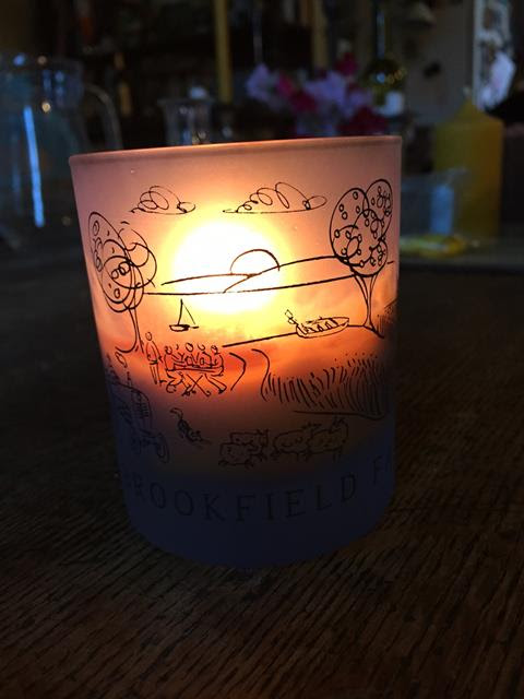New Brookfield Farm scented beeswax candle in glass