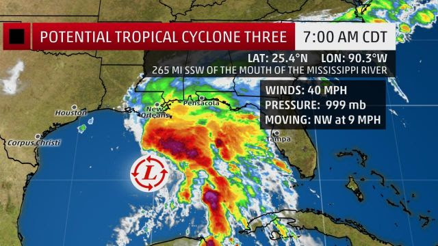 Tropical Hurricaine Cyclone Three Strengthens In The Gulf Of Mexico - National Special Report (Video)