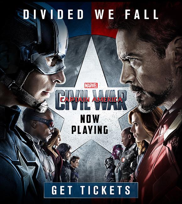 Capitão América da Marvel: Guerra Civil - Now Playing