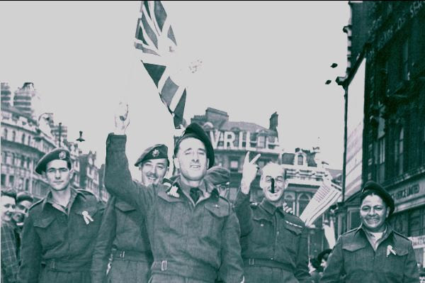 Soldiers celebrate VE Day.