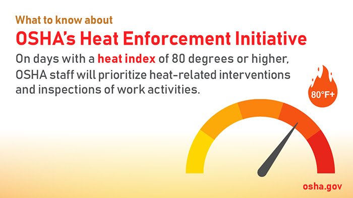 What to Know About OSHA's Heat Enforcement Initiative: On days with a heat index of 80 degrees or higher, OSHA staff will prioritze heat-related interventions and inspections of work activities.