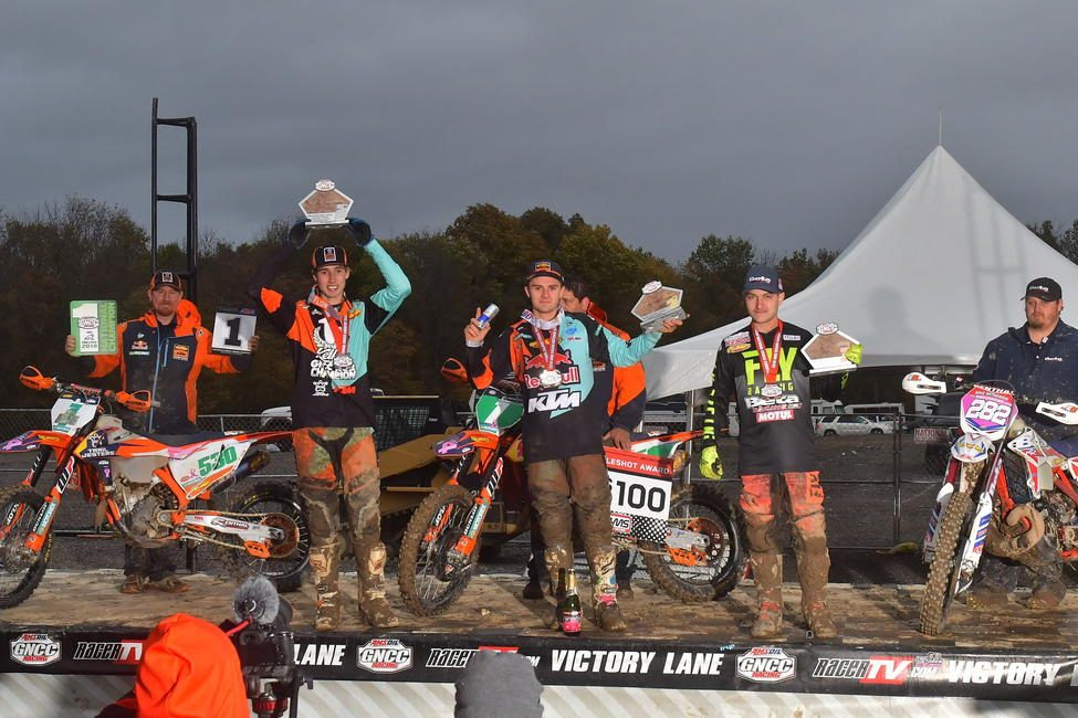 Josh Toth (center), Ben Kelley (left) and Mike Witkowski (right) rounded out the last XC2 250 Pro class podium of the 2018 season.