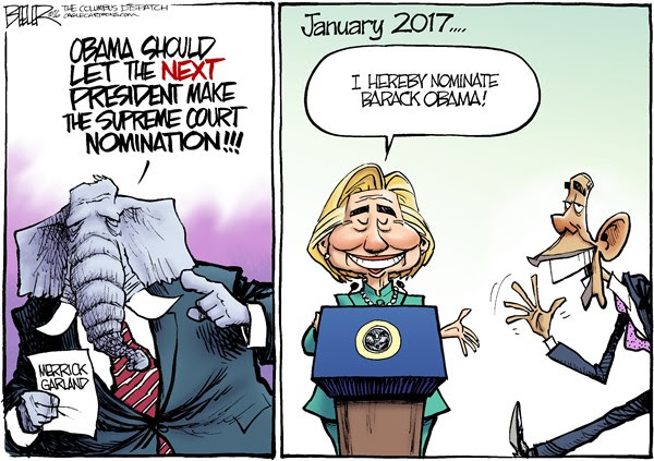 GOP Justice, Nate Beeler,The Columbus Dispatch,barack obama, hillary clinton, president, merrick garland, supreme court, scotus, justice, nominate, nomination, politics, 2016, election, gop, republican, elephant, law, judge