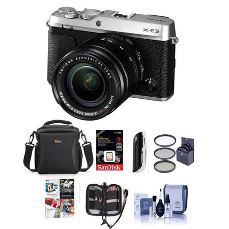 X-E3 Mirrorless Camera, Silver, with XF 18-55mm f/2.8-4 R LM OIS Zoom Lens - Bundle With C
