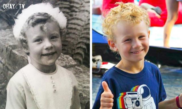 7. Ảnh trái là hình lúc nhỏ của người mẹ, ảnh phả là hình cậu con trai,di truyền,sự giống nhau