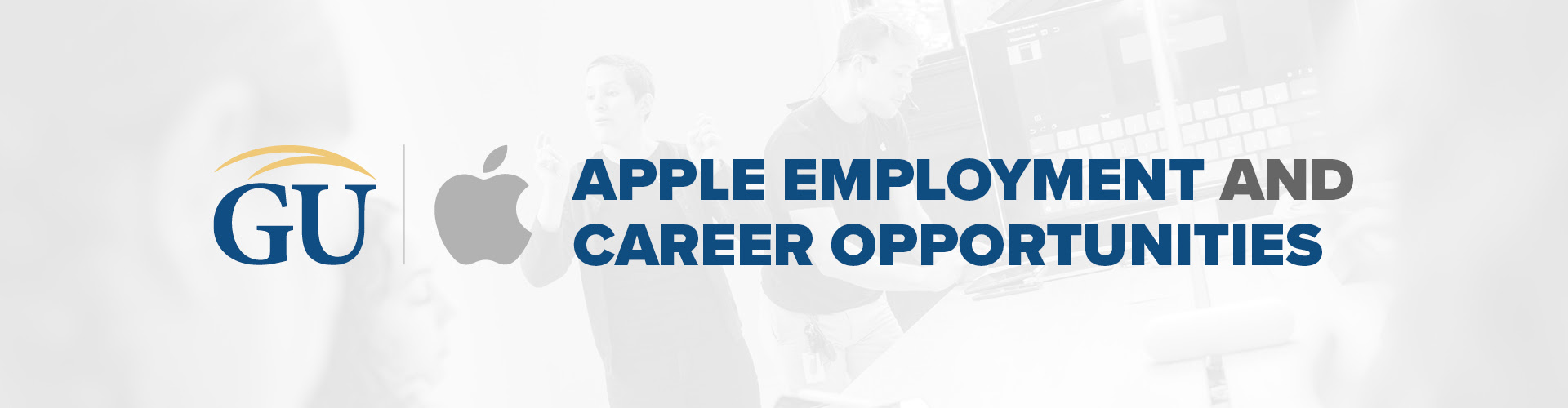 "An image with Gallaudet's and Apple's logo is visible with the phrase ""Apple Employment and Career Opportunities"""
