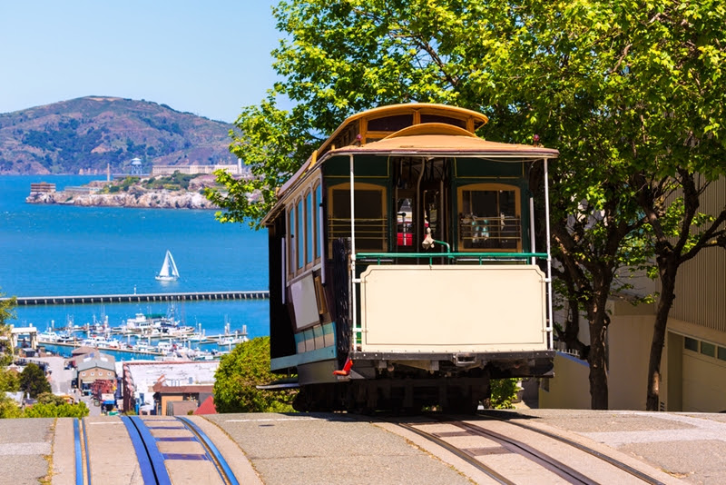 Cable cars are a fun way to explore the city.