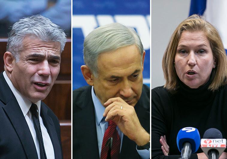 Netanyahu Livni and Lapid